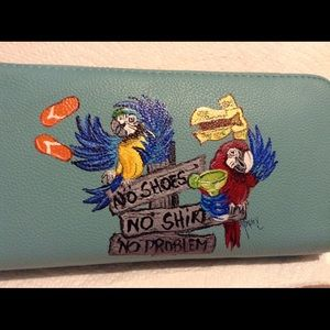 Handbags - Hand-painted wallet, parrots, parrot-head.